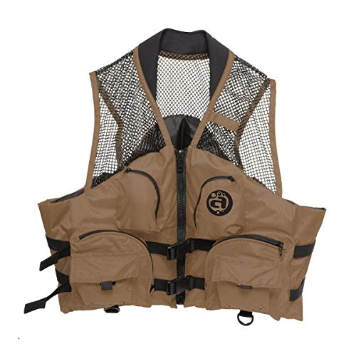 Kwik Tek Fishing Deluxe Life Vest Bark (Brown, Small - Medium)