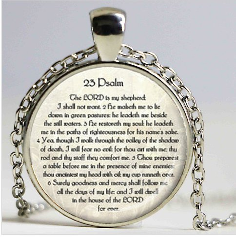 (23rd PSALM JEWELRY Scripture Necklace Psalm 23 Necklace Bible Verse Jewelry Scripture Jewelry Jewish Gift Christian)