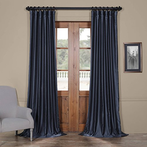 Half Price Drapes Pdch-HANB89-120 Yarn Dyed Faux Dupioni Silk Curtain, 50 x 120, Egyptian Blue