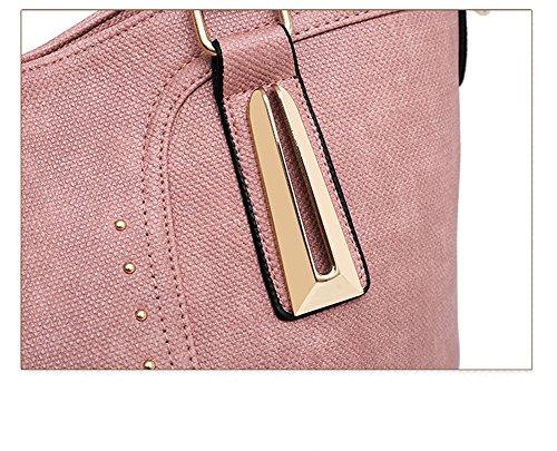 Diagonal Kit Paquet Pink Main Sac PU Rivets Costume Portefeuille Pièces Trois À À Main Brown Cuir LXYIUN Sac De Hq7w6SU