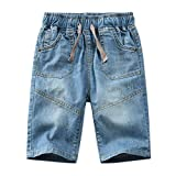 Boys Casual Adjustable Waist Rivet Half Length Summer Cotton Jeans Shorts