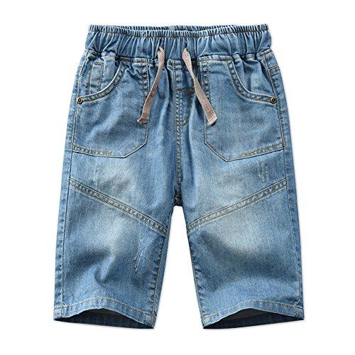 Boys Casual Adjustable Waist Rivet Half Length Summer Cotton Jeans Shorts by SITENG