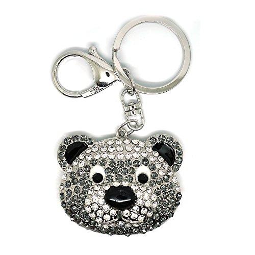 ovely Teddy Bear Face Bling Crystal Rhinestone Purse Charm Keychain (Silver) ()