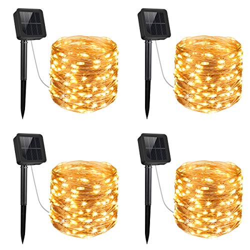 AMIR Upgraded Solar String Lights, 4 Pack 33ft 100 LED Outdoor String Lights, Waterproof 8 Lighting Modes Solar Decoration Lights for Gardens, Patios, Homes, Parties (Warm White)