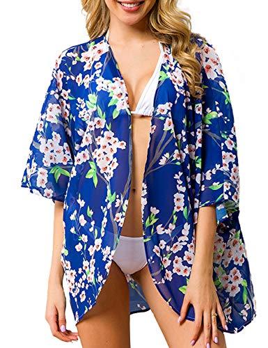 Top Kimono Floral (Traleubie Women's Sheer Chiffon Blouse Loose Tops Kimono Floral Print Cardigan Color 1 L-XL)