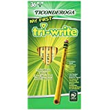 Ticonderoga Wood-Cased My First Tri-Write Pencils, 2 HB Soft, With Eraser, Yellow, 36 Count (13082)