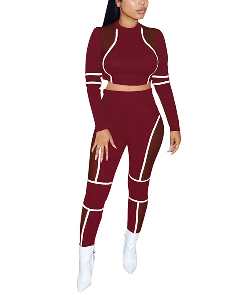 Style F   Red Kafiloe Womens Mesh See Through Club Party Bodycon Jumpsuit Rompers Sexy 2 Piece Outfits Pants Set and Crop Top
