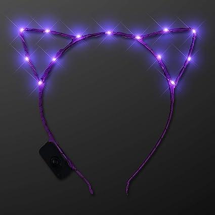 Purple Tie Dye Beaded Cat Ears