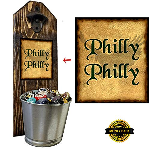 """""""Philly Philly"""" Beer Bottle Opener and Cap Catcher, Wall Mounted - Handcrafted by a Vet - Solid Pine 3/4"""" Thick - Rustic Cast Iron Opener & Galvanized Bucket - Just Twist to Empty - Championship Gift!"""
