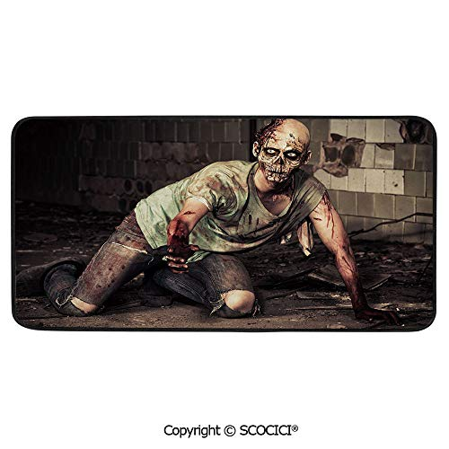 Rectangle Rugs for Bedside Fall Safety, Picnic, Art Project, Play Time, Crafts, Large Protective Mat, Thick Carpet,Zombie Decor,Halloween Scary Dead Man in Old Building with Bloody,39