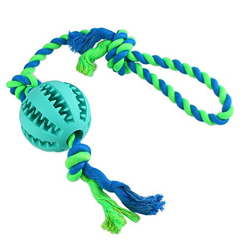 Magic Cindy Dog Ball with Rope Toy for Dogs & Cats, Indestructible Dental Treat Bite Resistant Durable Soft Rubber for Pet IQ Training/Playing/Chewing
