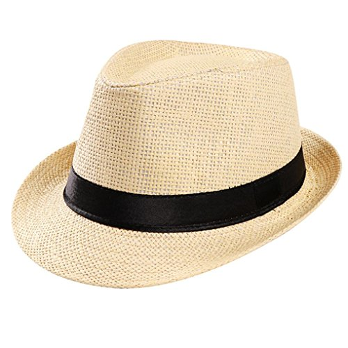 (CocoMarket Unisex Fashion Classics Trilby Gangster Cap Beach Sun Straw Hat Band Sunhat (Beige))