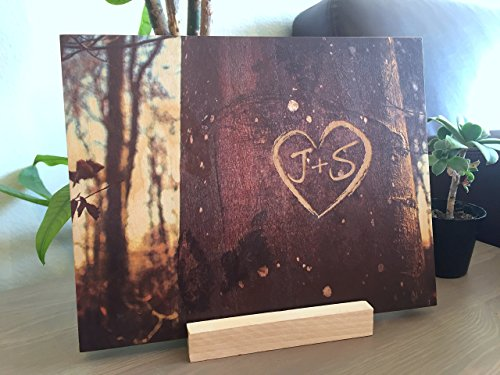 Heart Wood Keepsake - Personalized Memory Tree Bark Photo On Wood - Engraved Heart Shape Keepsake with Custom Initials onto Wood Canvas | Initial Gifts | Couple's Gift | Wedding Gifts 5th Anniversary Gifts Valentine Gifts