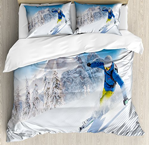 Ambesonne Winter Duvet Cover Set Queen Size, Skier Skiing Downhill in High Mountains Extreme Winter Sports Hobbies Activity, Decorative 3 Piece Bedding Set with 2 Pillow Shams,