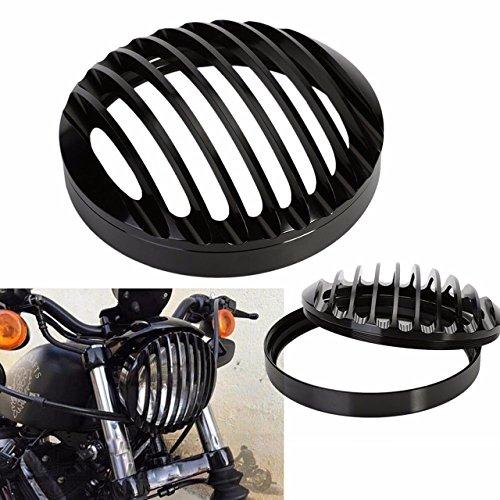 KaTur 14,6 cm (5 3/4 inch) aluminium koplampafdekking, zwart, voor Harley Sportster XL 2004 – 2014, XL 883 1200