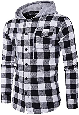 ღLILICATღ Blusa de Hombre Camisetas de Cuadros Ocasionales de otoño de los Hombres Camisa de Manga Larga Jersey Blusa con Capucha Superior Manga Larga de Color Block con Capucha para Hombre: Amazon.es: