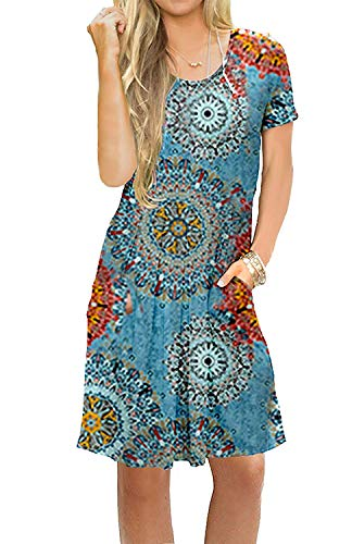 MIDOSOO Womens Summer Casual Dresses Printed Pattern Dress Short Sleeve Pleated Swing Dress with Pockets ()