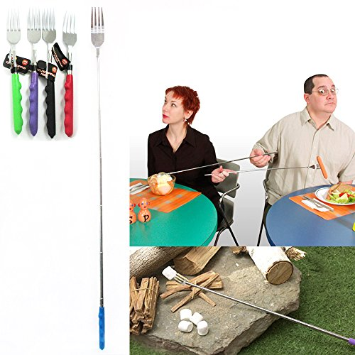4 Pc Telescoping Fork Freeloader Marshmallow Hot Dog Campfire Telescopic Extend