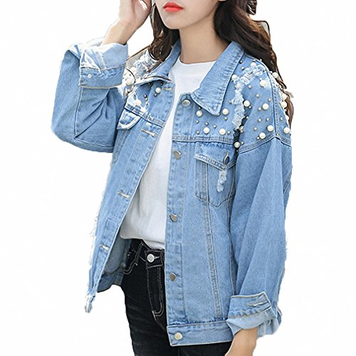 Huiwa Womens Denim Jacket Pearls Beading Jeans Coat Loose Long Sleeve Ripped Jackets Picture Color L ()