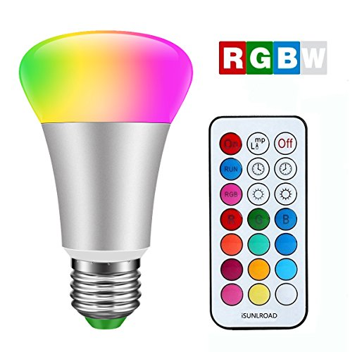2-in-1 Timing Setting LED Light Bulb 10W RGB Color Changing Dimmable RGBW LED Light Bulbs with E26 Base Daylight 6000k A19 Lamp with IR Remote Controller for Home Bar Party KTV Decoration