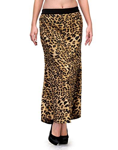 NATTY INDIA Brown and Black Animal Print Crepe Straight Skirt