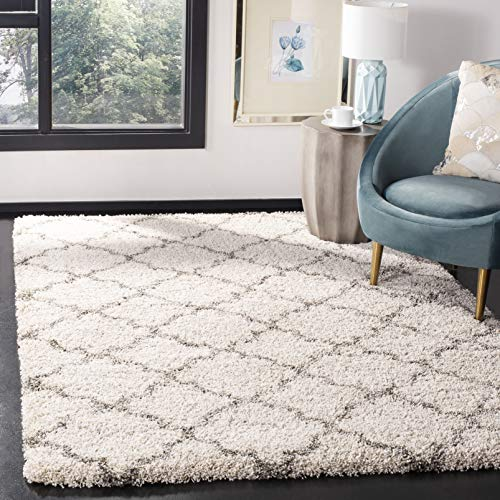 Safavieh Hudson Shag Collection SGH282A Ivory and Grey Moroccan Geometric Quatrefoil Area Rug (8' x 10') (Moroccan Pattern Rug Area)