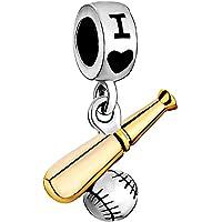 I Love Playing Baseball Sports Dangle Charms Jewelry Sale Cheap Beads Fit Pandora Bracelets