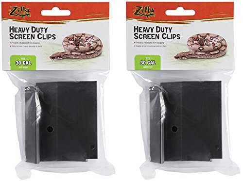 Reptile Cover ((2 Pack) Zilla Reptile Terrarium Covers Heavty Duty Screen Clips, Large 30Gallon or Larger, 2 Clips each)