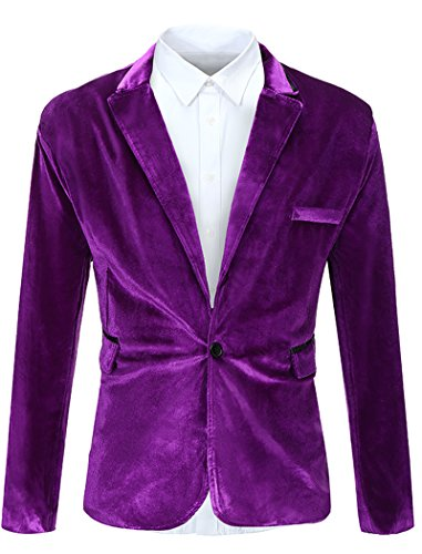 FEHAAN Mens One Button Slim Fit Velvet Suit Sport Coats Jacket Purple