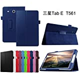 """Samsung Galaxy Tab E 9.6 Case,Mama Mouth PU Leather Folio 2-folding Stand Cover with Stylus Holder for 9.6"""" Samsung Galaxy Tab E 9.6 T560 T561 Android Tablet,Dark Blue"""