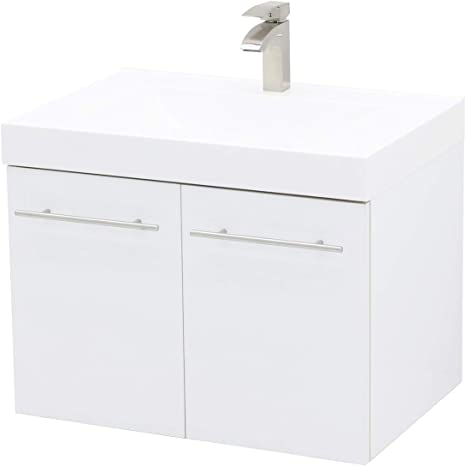 Amazon Com Windbay Wall Mount Floating Bathroom Vanity Sink Set White Embossed Texture Vanity White Integrated Sink Countertop 23 25 Kitchen Dining