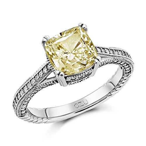 DTLA Canary Yellow Cubic Zirconia Sterling Silver Engagement Ring
