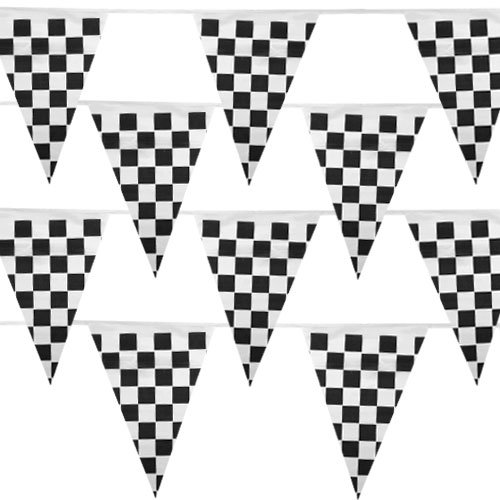 Black and White Checker 100 Ft Pennant Stringer w/48 Large Flags by Pudgy Pedro's Party Supplies