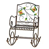 Collections Etc Colorful Butterfly Garden Scrolling Rocking Chair, Outdoor Garden Decor - Made of Iron and Holds Up to 250 lbs