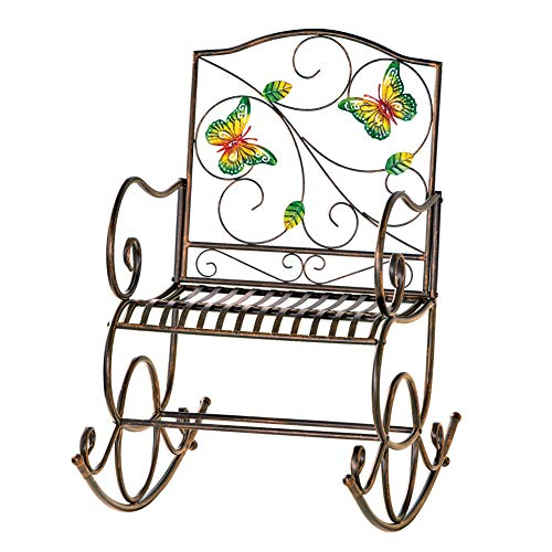 Butterfly Collection Rocking Chair - Collections Etc Colorful Butterfly Garden Scrolling Rocking Chair, Outdoor Garden Decor - Made of Iron and Holds Up to 250 lbs