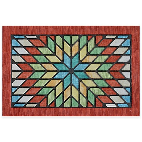 Door Mat Vivid Starburst Colors Recycled Rubber For Durable 20-Inch x ()