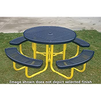 Coated Outdoor Furniture TRD-DBL Top Round Portable Picnic Table, 46-inch, Dark Blue