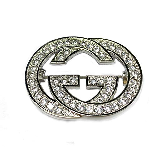 Designer Flowers Brooch - Brooches for Women,YIAI Crystal Designer Brooches Pins for Women Brand Classic Double Row Drill G Needle (silver)