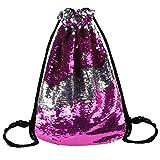Mermaid Drawstring Bag Reversible Sequins Glitter Shoulder Backpack-Rose Sliver Review
