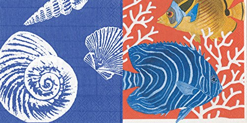 (Entertaining with Caspari Paper Cocktail Napkins, Pack of 40 ... (Shells Ocean Blue & Coral Reef))