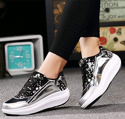 DADAWEN Womens Athletic Shoes Casual Platform Walking Sneakers Breathable Running Shoes Silver kQJu1eu
