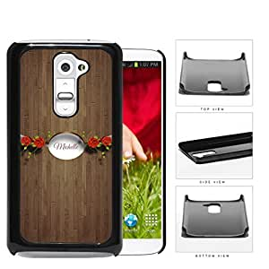 CUSTOM NAME Brown Wood Pattern with Red Roses White Oval Banner LG G2 Hard Snap on Plastic Cell Phone Case Cover