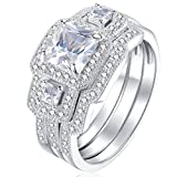 Newshe 3pcs Princess White Cz 925 Sterling Silver Wedding Ring Set Engagement Ring Set Size 12