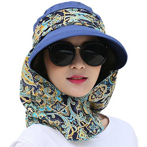 Details about Lanzom Women Lady Wide Brim Cap Visor Hat UV Protection  Summer Sun Hats Dark Blu 17fc14f0c4e