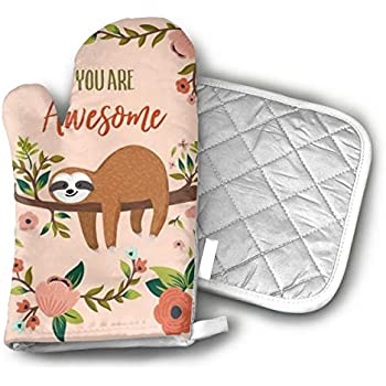 UYRHFS You are Awesome Sloth Oven Mitts and Pot Holder Kitchen Set with, Heat Resistant, Oven Gloves and Pot Holders 2pcs Set for BBQ Cooking Baking