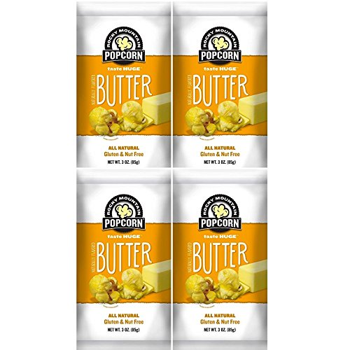 Rocky Mountain Popcorn, Real Butter Gourmet Popcorn Combo Pack, 3 Ounce Bags (Pack of 4) (Butter, 3.0 Ounce) (Gourmet Snack Combo)