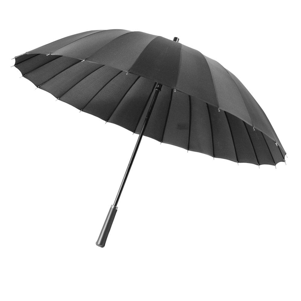 Regenschirm, Winddichter Schirm, Semi-Automatisches Öffnen, 24 Schirmrippen, leicht, Sehr Starker Stockschirm mit Ledergriff, Schwarz, von Lapfome