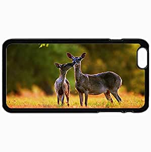 Personalized Protective Hardshell Back Hardcover For iPhone 6 Plus, Deer Design In Black Case Color