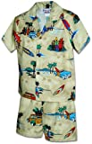 Pacific Legend Boys Woodie Fish Surfboard Toddler 2pc Set Khaki 1T for 1yr old