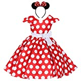 IWEMEK Girls Polka Dots Cap Sleeves Wedding Pageant Princess Skirt Bowknot Tutu Dress Mouse Ears Headband Red 4-5
